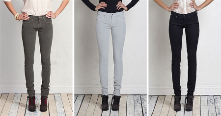 (L-R: Super skinny cord jeans in 'Balsam' Baby Cord - $142; Super skinny cord jeans in 'Silver' Baby Cord - $142; Ideal skinny jeans in 'Charcoal' - $142.)
