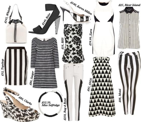 monochrome trend, SS13, aesthetic online, high street shopping